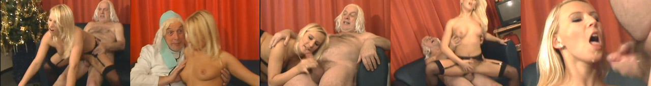 Blondynka daje dupy staremu dziadkowi